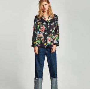 ZARA Collection Printed Pajama Floral Blouse